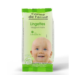 Baby Wipes for Face and Hands with organic calendula x 25