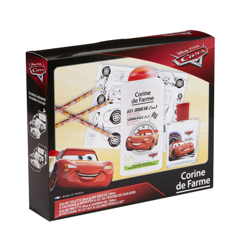 Corine de Farme - Disney Pixar Cars  - Coffret Eau de toilette 50ml + Gel douche 250ml + set de crayons de couleurs - Flash McQueen